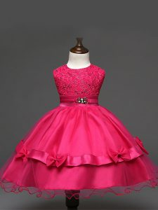 Hot Pink Ball Gowns Lace and Bowknot Winning Pageant Gowns Zipper Tulle Sleeveless Knee Length