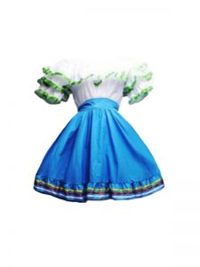 Dazzling Blue And White Zipper Scoop Ruffles Prom Evening Gown Taffeta Short Sleeves