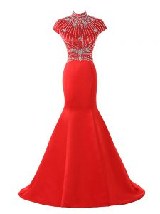 Coral Red Short Sleeves Sweep Train Beading Womens Evening Dresses