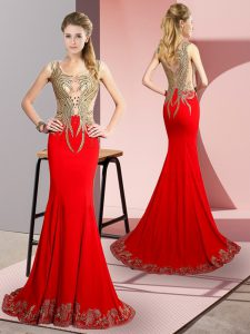 Red Scoop Side Zipper Beading and Appliques Prom Gown Brush Train Sleeveless