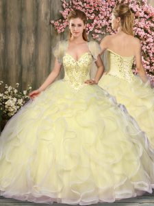 Beautiful Sleeveless Floor Length Beading and Ruffles Lace Up Vestidos de Quinceanera with Light Yellow
