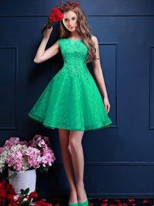 Apple Green Bateau Neckline Lace and Appliques Quinceanera Dama Dress Sleeveless Lace Up