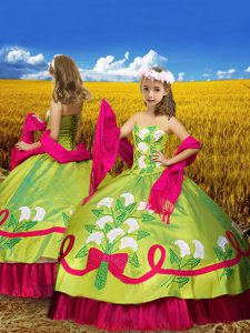 Attractive Olive Green Ball Gowns Embroidery Pageant Gowns For Girls Lace Up Taffeta Sleeveless Floor Length