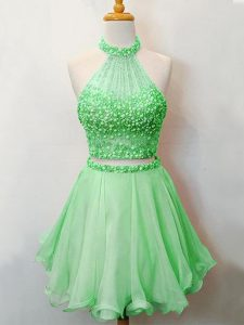Elegant Green Organza Lace Up Halter Top Sleeveless Knee Length Quinceanera Dama Dress Beading
