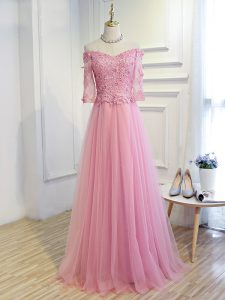 Elegant A-line Prom Party Dress Pink Off The Shoulder Tulle 3 4 Length Sleeve Floor Length Lace Up