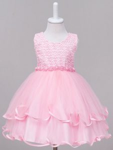 New Arrival Scoop Sleeveless Pageant Dress Knee Length Lace Baby Pink Tulle