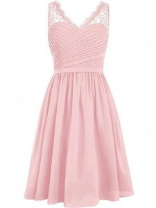 Cute V-neck Sleeveless Chiffon Court Dresses for Sweet 16 Lace and Ruching Side Zipper