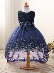 Adorable Tulle Scoop Sleeveless Zipper Lace and Appliques and Bowknot and Hand Made Flower Kids Pageant Dress in Navy Blue