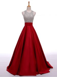 Fancy Wine Red A-line Elastic Woven Satin Scoop Sleeveless Beading Backless Prom Evening Gown