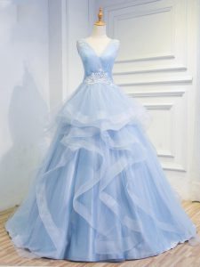 Romantic Light Blue V-neck Neckline Beading and Ruffles Prom Party Dress Sleeveless Lace Up