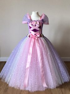 Ball Gowns Child Pageant Dress Multi-color Off The Shoulder Tulle Cap Sleeves Floor Length Side Zipper