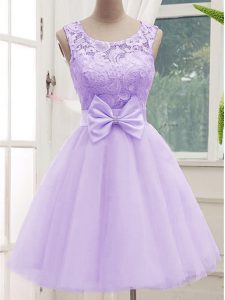 Lavender Sleeveless Knee Length Lace and Bowknot Lace Up Vestidos de Damas