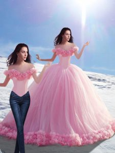 Dramatic Baby Pink Ball Gowns Hand Made Flower Sweet 16 Quinceanera Dress Lace Up Tulle Sleeveless