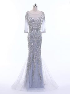 Romantic 3 4 Length Sleeve Beading Zipper Prom Dress with Silver Brush Train