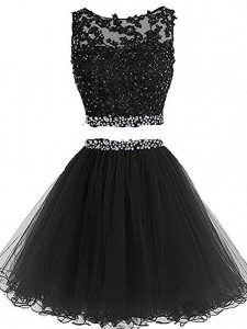Decent Black Scoop Zipper Beading and Lace and Appliques Homecoming Dress Sleeveless