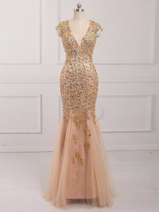 Hot Selling Tulle V-neck Cap Sleeves Backless Beading Prom Evening Gown in Champagne
