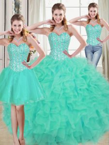 Hot Sale Turquoise Quinceanera Dresses Prom and Party and Military Ball and Sweet 16 and Quinceanera with Beading and Ruffled Layers Sweetheart Sleeveless Brush Train Lace Up