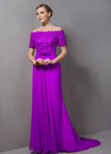 Short Sleeves Chiffon Sweep Train Zipper Dress for Prom in Purple with Lace