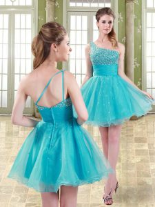 Aqua Blue Sleeveless Organza Zipper Cocktail Dress for Prom and Party and Sweet 16