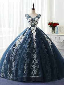 Sexy Navy Blue Organza and Taffeta and Chiffon and Tulle Lace Up Scoop Sleeveless Floor Length Sweet 16 Dresses Ruffles and Pattern