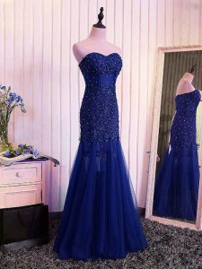 High End Mermaid Evening Party Dresses Royal Blue Sweetheart Tulle Sleeveless Floor Length Lace Up