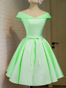 Fitting Taffeta Off The Shoulder Cap Sleeves Lace Up Belt Dama Dress for Quinceanera in