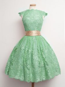 Nice Cap Sleeves Knee Length Belt Lace Up Quinceanera Dama Dress with Green