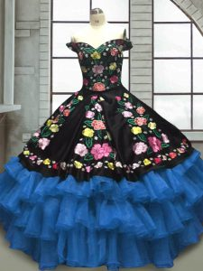 Blue And Black Sweetheart Neckline Embroidery and Ruffled Layers Sweet 16 Quinceanera Dress Sleeveless Lace Up