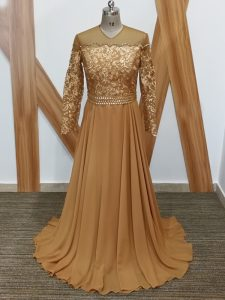 Brown Long Sleeves Chiffon Brush Train Zipper Prom Dress for Prom and Sweet 16