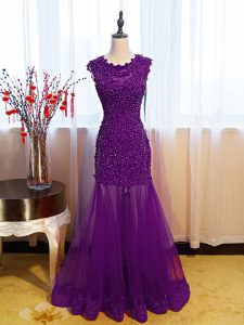 Eggplant Purple Sleeveless Floor Length Beading and Lace and Appliques Side Zipper Formal Evening Gowns