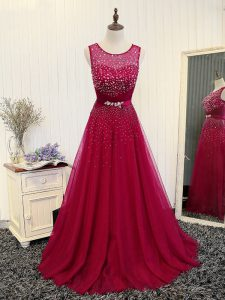 Fuchsia Scoop Zipper Beading and Belt Prom Gown Brush Train Sleeveless