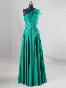 Captivating Turquoise Sleeveless Chiffon Backless Homecoming Dress Online for Prom and Party and Military Ball and Sweet 16 and Beach