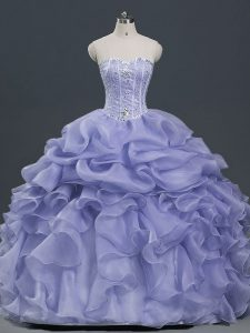 Lavender Ball Gowns Beading and Ruffles and Pick Ups Quinceanera Dresses Lace Up Organza Sleeveless Floor Length