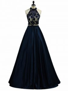 Hot Selling Navy Blue Taffeta Zipper Halter Top Sleeveless Floor Length Prom Dress Lace and Appliques