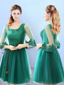 Amazing 3 4 Length Sleeve Tulle Knee Length Lace Up Quinceanera Court of Honor Dress in Green with Lace and Appliques