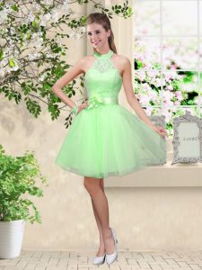 Superior A-line Tulle Halter Top Sleeveless Lace and Belt Knee Length Lace Up Damas Dress