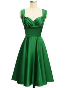 Clearance Taffeta Straps Sleeveless Lace Up Ruching Dama Dress for Quinceanera in Dark Green