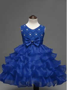 Adorable Knee Length Royal Blue Custom Made Pageant Dress Organza Sleeveless Lace and Ruffled Layers and Bowknot