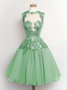 New Style Apple Green A-line Lace Quinceanera Court Dresses Lace Up Chiffon Sleeveless Knee Length