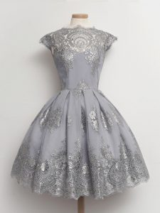 Grey Scalloped Neckline Lace Damas Dress Cap Sleeves Lace Up