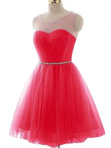 Tulle Scoop Sleeveless Lace Up Beading and Ruching Evening Dress in Coral Red