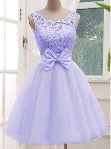 Excellent Lavender A-line Lace and Bowknot Quinceanera Court Dresses Lace Up Tulle Sleeveless Knee Length