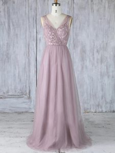 Hot Sale Lavender Tulle Criss Cross Quinceanera Court of Honor Dress Sleeveless Floor Length Appliques