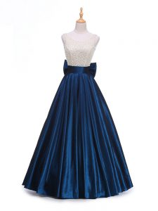 Dazzling Navy Blue Taffeta Backless Scoop Sleeveless Floor Length Formal Evening Gowns Beading and Bowknot