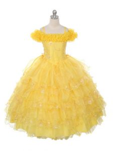 Top Selling Yellow Organza Lace Up Off The Shoulder Sleeveless Floor Length Pageant Dress for Teens Ruffles and Ruffled Layers