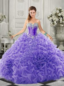 Lavender Organza Lace Up Quinceanera Dresses Sleeveless Court Train Beading and Ruffles