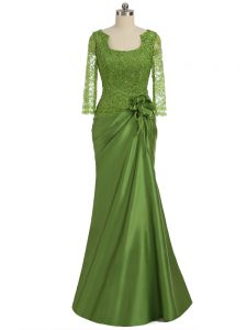 Olive Green Column/Sheath Lace and Appliques and Hand Made Flower Prom Dresses Zipper Elastic Woven Satin Long Sleeves Floor Length