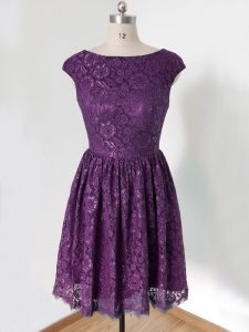 Great Dark Purple Empire Scoop Sleeveless Lace Knee Length Lace Up Lace Court Dresses for Sweet 16