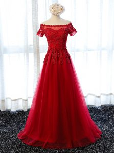 New Arrival Scalloped Short Sleeves Prom Gown Floor Length Beading and Lace and Appliques Wine Red Tulle