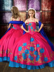 Graceful Hot Pink Sleeveless Taffeta Lace Up Little Girls Pageant Dress Wholesale for Wedding Party